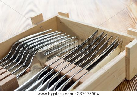 Cutlery Steak Set For Six Person In Wooden Box. New Sharp Knives And Forks. Male Gift Idea Concept.