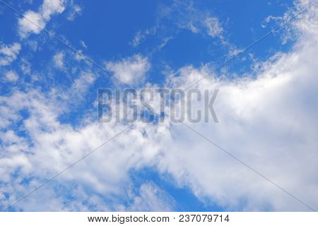 Beautiful Nature Blue Sky With Clouds, Sky Clouds Background, Cloudscape Concept. Space For Text In