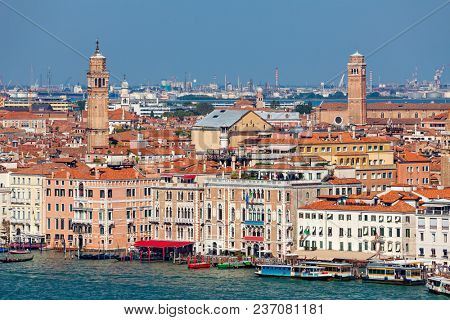 View of Grand Canal and venetian architecture as seen from San Giorgio Maggiore belfry in Venice, Italy.