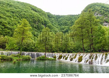 Amazing Waterfall. Travel And Tourisam Concept