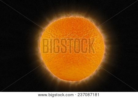 Orange In The Form Of The Sun - With A Solar Corona And Prominences On A Black Background With Stars