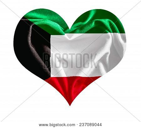 The Flag Of Kuwait In A Heart Shape With Fabric Texture.