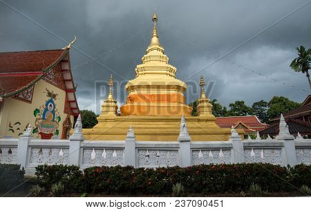 Wat Phra That Chom Chaeng One Of The 9 Important Pagodas Of Chiang Rai Province, Thailand.