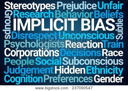 Implicit Bias Word Cloud on Blue Background