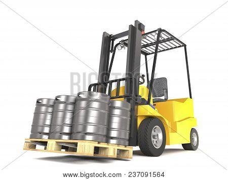 Forklift With Pallete Of Beer Kegs On White Background (3d Illustration).
