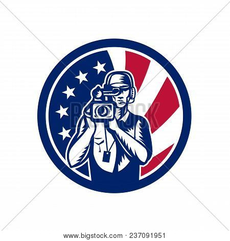 Icon Retro Style Illustration Of An American Cameraman Or Camera Operator For Motion Pictures, Film