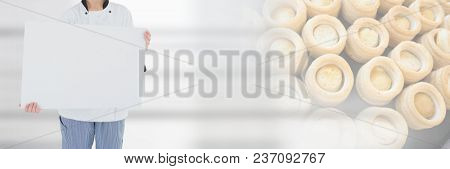Chef holding blank sign with food transition background