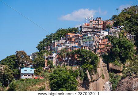 Fragile Residential Buildings On The Rock In Favela Of Rio De Janeiro