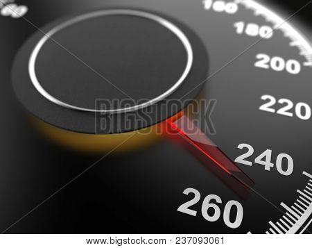 Car Speedometer Dial Indicating Maximum Speed. Automobile Background. 3D Illusatration.