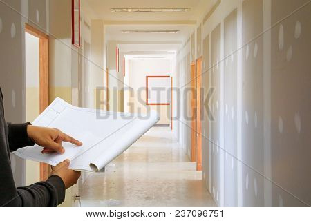 Engineer Finger Point On Paper Plan Blueprint In Check Building Technician Place Construction Site G
