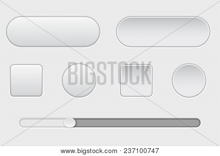 Set Of White Plastic Buttons. Normal And Pushed. With Slider Bar. Web Interface Buttons. Vector 3d I