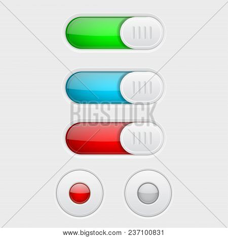 Web Buttons. Colored Set Of Toggle Switch Butttons And Radio Buttons. Vector 3d Illustration Isolate