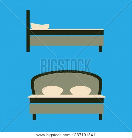 Realistic Illustration Of A Large Bed With Two Pillows And Blanket. Front And Side View On A Blue Ba