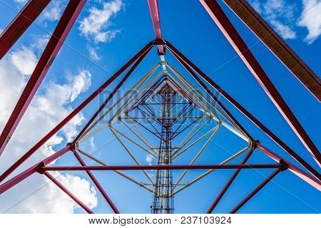 Inside View Of Telecommunication Tower With Panel Antennas And Radio Antennas And Satellite Dishes F