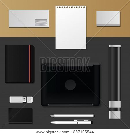 Corporate Identity Mock-up Vector Premium Template Set Business Office Stationery Realistic 3d Mocku