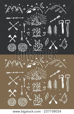 Retro Vintage Style Symbols For Mountain Expedition: Adventure, Camping, Hunting, Tour, Foods, Campi