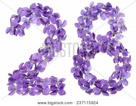 Arabic Numeral 28, Twenty Eight, From Flowers Of Viola, Isolated On White Background