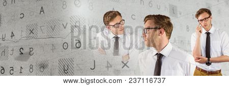 Thinking man in sequence with letters and numbers transition