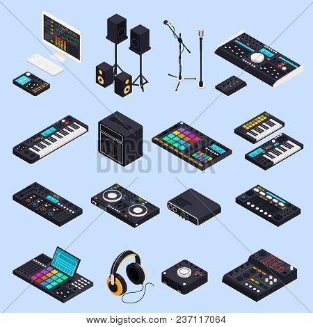 Music Recording Studio Equipment Isometric Icons Set With Isolated Images Of Professional Audio Devi