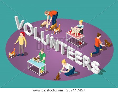 Volunteers And Animals, Dogs And Cats  Isometric Composition With Typographic Lettering On Purple Gr