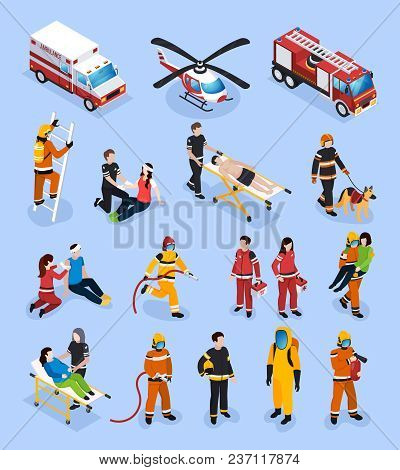 Rescue Teams Isometric Set With People In Professional Uniform Engaged In Medical Healthcare And Fir
