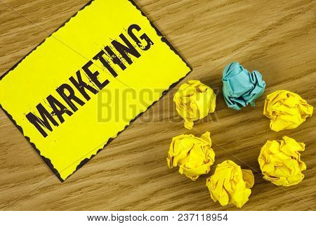 Handwriting Text Marketing. Concept Meaning Advertising Selling Products From A Company To Promote S