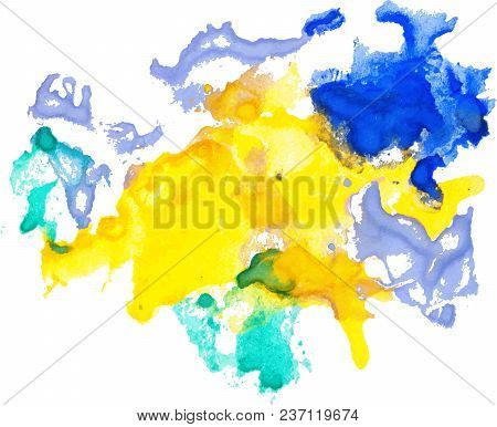 Colorful Watercolor Spots Hand Drawn Paper Texture Isolated On White Background, Stain For Text Desi