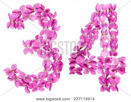 Arabic Numeral 34, Thirty Four, From Flowers Of Viola, Isolated On White Background