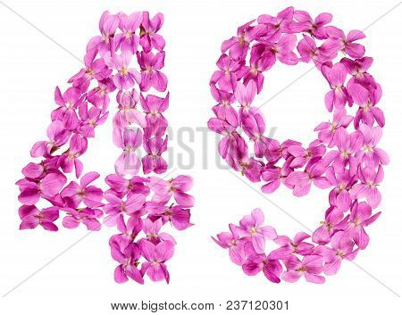 Arabic Numeral 49, Forty Nine, From Flowers Of Viola, Isolated On White Background