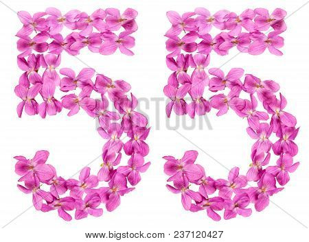 Arabic Numeral 55, Fifty Five, From Flowers Of Viola, Isolated On White Background