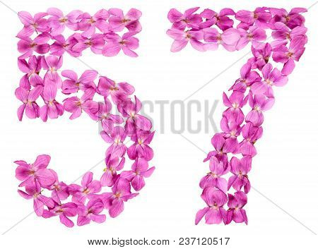 Arabic Numeral 57, Fifty Seven, From Flowers Of Viola, Isolated On White Background