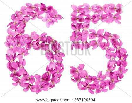 Arabic Numeral 65, Sixty Five, From Flowers Of Viola, Isolated On White Background