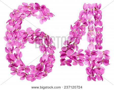Arabic Numeral 64, Sixty Four, From Flowers Of Viola, Isolated On White Background