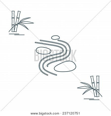 Stylized Icon Of Minimal Japanese Rock Garden And Bamboo. Zen Garden Vector Illustration.