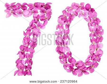 Arabic Numeral 70, Seventy, From Flowers Of Viola, Isolated On White Background