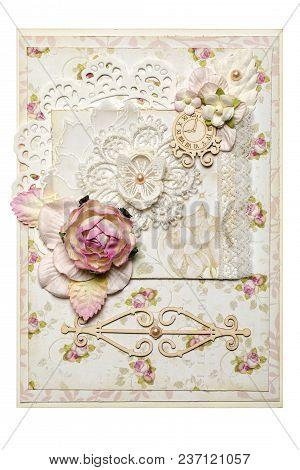 Postcard In The Style Of Scrapbooking With A Rose Flower. Watch And Butterfly.ornament And Pattern.