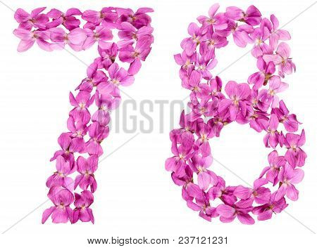 Arabic Numeral 78, Seventy Eight, From Flowers Of Viola, Isolated On White Background