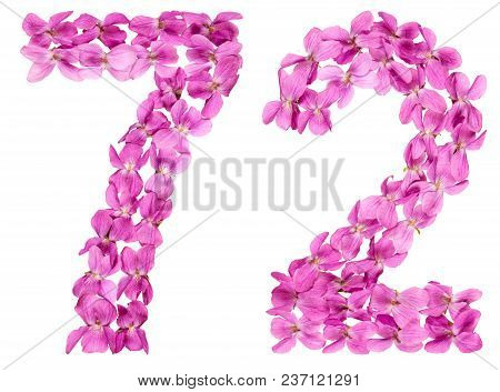 Arabic Numeral 72, Seventy Two, From Flowers Of Viola, Isolated On White Background
