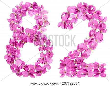 Arabic Numeral 82, Eighty Two, From Flowers Of Viola, Isolated On White Background