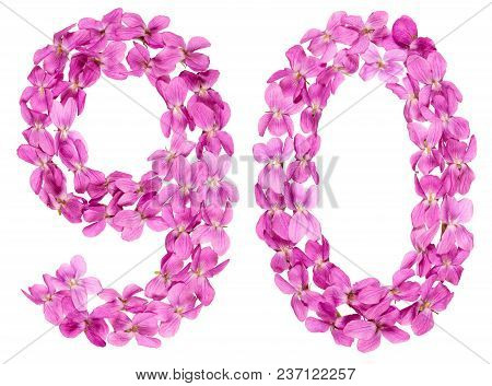 Arabic Numeral 90, Ninety, From Flowers Of Viola, Isolated On White Background