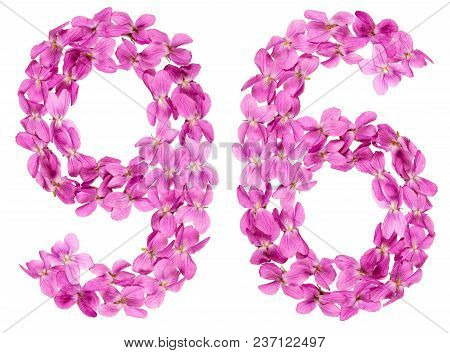 Arabic Numeral 96, Ninety Six, From Flowers Of Viola, Isolated On White Background