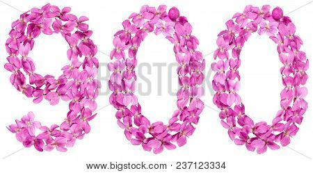 Arabic Numeral 900, Nine Hundred, From Flowers Of Viola, Isolated On White Background