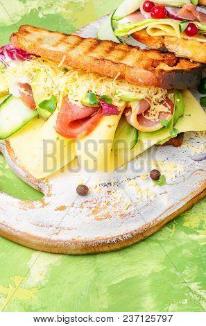 Sandwiches On Cutting Board