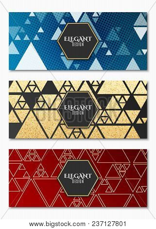 Collection Of Elegant Luxury Cards For Your Design. Geometric Design. Chaotic Golden Triangles. Gold