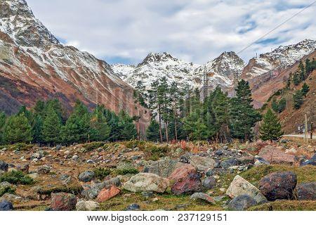 Late Autumn In The Baksan Gorge. Kabardino-balkaria, Russia.