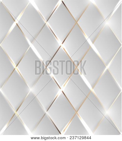 Seamless illustration of shiny golden background with 3d effect and glossy elements with flares  -  raster version