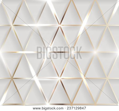 Seamless illustration of shiny metallic golden background with 3d effect and glossy elements with flares  -  raster version