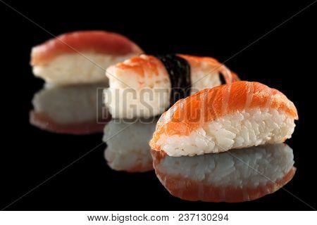 Fresh Made Sushi With Salmon, Tuna And Tiger Shrimp.