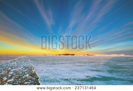 Panorama And Just Air On Ice Floes, Terrain And Scenery Antarctic. Sunrise, Day, Sunset. Shooting Wi