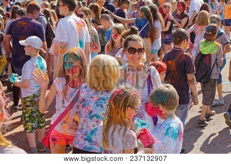 Editorial. Omsk,russia - June 25, 2017. Festival Of Paints In The Park Of The Soviet District In And
